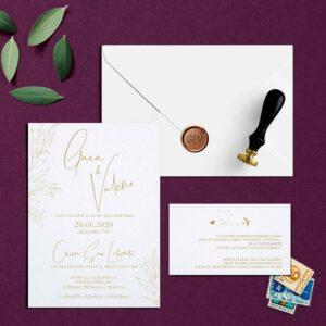 Partecipazione calligrafica Oro