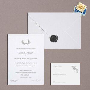 Partecipazione stampatello grey